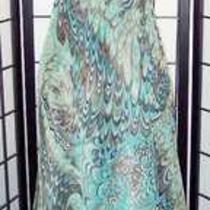Laundry by Shelli Segal Beaded Silk Aqua & Brown Peacock Halter Dress Crochet  6 Photo