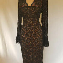 Laundry by Shelli Segal Black Lace Wiggle Dress Sleeves Size 10 Nude Lining Photo