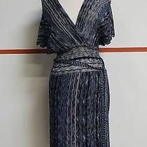 Laundry by Shelli Segal Blues Viscose Blend v Front Belted Dress Sz M 11164 Photo
