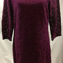 Laundry by Shelli Segal Burgandy Lace Overlay Lined 3/4 Sleeve Dress Size 10 Photo