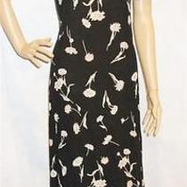 Laundry by Shelli Segal  Designer Black Floral Crinkle Dress  Sz P  Perfect Photo