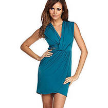 Laundry by Shelli Segal Matte Jersey Buckle Dress 10 Neptune (Teal Deep Aqua) Photo
