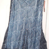 Laundry by Shelli Segal Sz10 Silk Nwt Gray/blue Print/ Pale Blue Lining Side Zip Photo