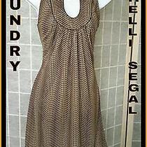 Laundry by Shelli Segal Wear to Work Dress Brown Cream Semi Scoopneck Shift Sz 4 Photo