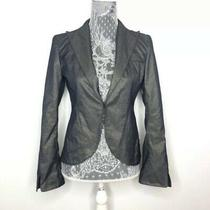 Laundry by Shelli Segal Womens Blazer Gray Metallic Buttery Soft Leather Size 4 Photo