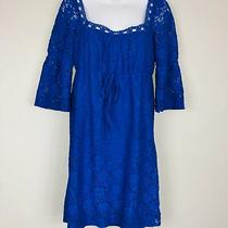 Laundry by Shelli Segal Womens Dress Sz S Blue Lace 3/4 Sleeve Empire Waist Gg77 Photo