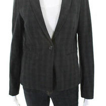 Laundry by Shelli Segal Womens One Button Deep v Neck Blazer Gray Black Size 6 Photo