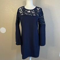 Laundry by Shelli Segal Womens Shift Dress Blue Crochet Stretch Back Tie 6 New Photo