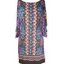 Laundry Ethnic Print Jersey Shift Dress Casual Work Dress 4 Petite Retail 225 Photo