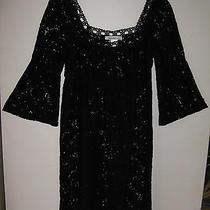 Laundry - M - Black Lace Design 3/4 Flute Sleeve Square Neck Tie Waist Tunic Top Photo