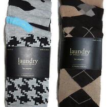 Laundry Shelli Segal 5 Pairs Socks Plaid Checkered Print Tan Brown Grey New 35 Photo