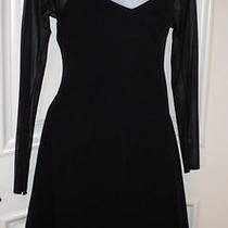 Laundry Shelli Segal Black Dress Sz 6 Long Mesh Sheer Sleeves Gorgeous Photo