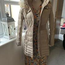 Laundry Shelli Segal Faux Fur Hooded Cinched Waist Puffer Coat Light Gold Small Photo