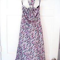 Laundry Shelli Segal Halter Silk Dress Size 6 Pink Aqua White Black Op-Art Print Photo