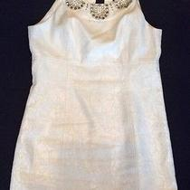 Laundry White Dress With Beaded Neckline Size 12 Photo