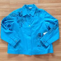 Laura Ashley Aqua Azure Blue Denim Jean Bead & Embroidered Jacket Large Nwt 108 Photo