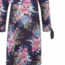 Laura Ashley Navy Bouquet Bloom Floral Off Shoulde4 Dress Size M Rrp 45 Bnwt Photo