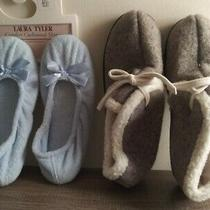 Laura Tyler/blue Slippers Size 6 & Liz Claiborne Slippers Grey Size 6/nwt Photo