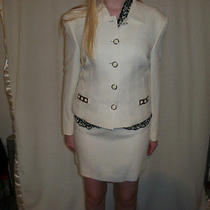 Laurel 38 Jacket Pant & Skirt 36 (Escada) Suit White/cream Chrome Accents Photo