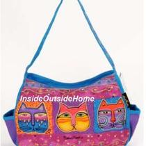 Laurel Burch Cat Masks Feline Faces Med Hobo Tote Bag Outer Pockets 5183 Nw 2013 Photo