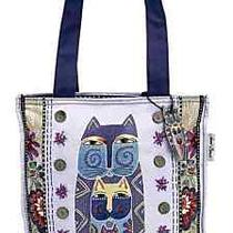 Laurel Burch Feline Fancy Canvas Carry All Shopper Tote Lilac Purple Nwt Photo