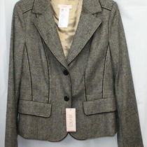 Laurel by Escada Blazer Jacket Virgin Wool Tweed Black Cream Tan New Nwt 38 Photo