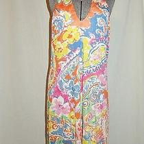 Lauren by Ralph Lauren Halter Dress Medium Bright Colors Silk Blend Gold Button  Photo
