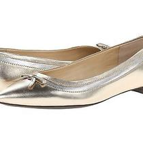 Lauren by Ralph Lauren Sally Platino Metallic Kidskin Leather Flats Shoes - 7.5b Photo