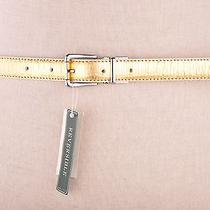 Lauren by Ralph Lauren Women's Reversible Leather White Patent / Gold  Croc L Photo