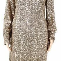 Lauren by Ralph Lauren Womens Sheath Dress Gold 14 Sequin Boat-Neck 210 118 Photo