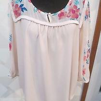 Lauren Conrad-Blushing Bloom-Mixed Media-Solid/floral Peasant Blouse-Size-Xl-Nwt Photo