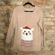 Lauren Conrad Christmas Sweater Top Size M Polar Bear Blush Pink Knit Pullover Photo