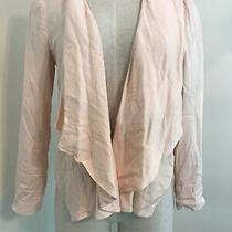 Lauren Conrad Women Size 6 Blazer Blush Pink Open Front Layers Long Sleeve Rayon Photo