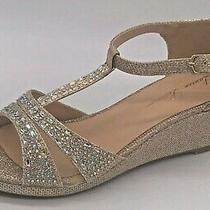 Lauren Lorraine Ness-Y Women's Size 5 Gold Sparkle Wedge Heel Shoes Open Toe New Photo