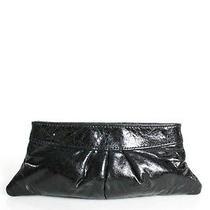 Lauren Merkin Black Leather Hinged Closure Pleated Clutch Handbag Photo