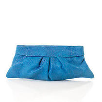 Lauren Merkin Blue Embossed Leather Hinge Closure Design Clutch Handbag Photo