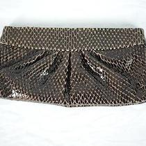 Lauren Merkin Glossy Snake/lizzard Patent Leather Hinge Clutch Brown Scales Nyc Photo