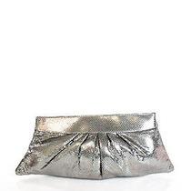 Lauren Merkin Silver Snakeskin Print Leather Large Hinge Clutch Handbag Photo