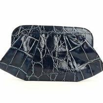 Lauren Merkin Tatum Navy Crocodile Leather Frame Clutch Bag Handbag Photo