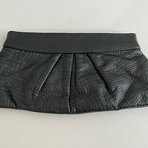 Lauren Merkin Women's Embossed Clutch Handbag Leather Black Size Small Photo