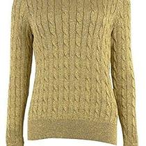 Lauren Ralph 200194058jdz Womens Metallic Cable-Knit Crewneck Sweater S Photo