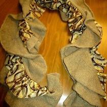 Lauren Ralph Lauren  Acrylic Silk Nylon Ruffle Scarf Beige Gold Brown 58