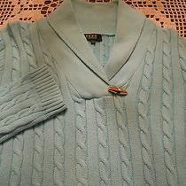 Lauren Ralph Lauren Aqua Colored Cable Knit Sweater Size L Photo