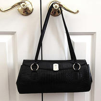 Lauren Ralph Lauren Black Leather Croc Embossed Shoulder Handbag Photo