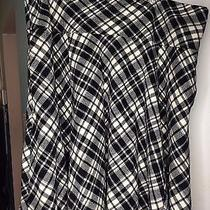 Lauren Ralph Lauren Black White Women's Size 16 Plaid a-Line Wool Skirt 179 Photo