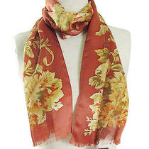 Lauren Ralph Lauren 'Chantelle' Silk Striped Floral Scarf - Heritage Rose Red42 Photo