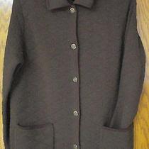 Lauren Ralph Lauren Chocolate Brown Lambswool Quilted Cardigan Sweater Euc  M Photo