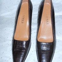 Lauren Ralph Lauren Croc Embossed Pumps in Brown 9b Photo