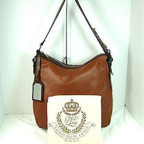 Lauren Ralph Lauren Farringdon Leather Hobo Brown/chestnut Nwt  1657 Photo