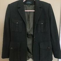 Lauren Ralph Lauren Green Wool Herringbone Equestrian Blazer Jacket Size 6 Photo
